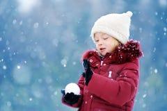 可爱的小女孩获得乐趣在美丽的冬天公园 使用在雪的逗人喜爱的孩子 库存图片