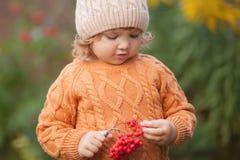 可爱的小孩女孩画象在美好的秋天天 免版税库存照片