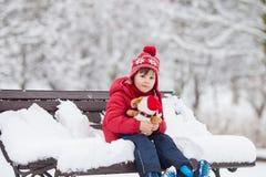可爱的小孩,男孩,使用在一个多雪的公园,拿着特德 免版税库存图片