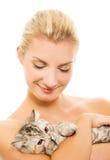 可爱的小猫妇女 库存图片