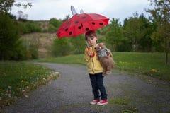 可爱的小男孩,拿着玩具朋友和伞 免版税库存照片