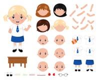 可爱的小的学校女孩字符建设者 动画片样式传染媒介例证 皇族释放例证