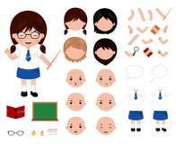 可爱的小的学校女孩字符建设者 动画片样式传染媒介例证 库存例证