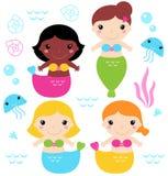 可爱的小的美人鱼集合 免版税库存照片