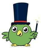可爱的小的鸟魔术师漫画人物 免版税库存照片