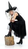 年轻可爱的巫婆 免版税库存照片
