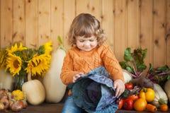 可爱的微笑的小孩女孩用红叶卷心菜和秋天收获 图库摄影
