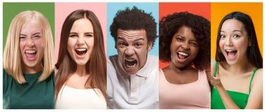 可爱的微笑的愉快的妇女和非洲的人照片拼贴画  免版税库存图片