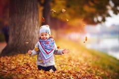 可爱的愉快的女婴获得乐趣在下落的叶子,使用在秋天公园 免版税库存图片