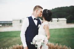 可爱的愉快的婚礼夫妇,有摆在美丽的城市的长的白色礼服的新娘 免版税图库摄影