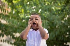 可爱的拉丁孩子在庭院里 免版税库存图片