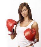 可爱的拳击手套少年妇女 免版税库存图片