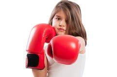可爱的拳击手女孩 免版税库存图片
