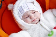 可爱的新出生的婴孩画象在温暖的冬天穿衣 免版税库存图片