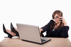 可爱的新女实业家白种人的二十 免版税库存照片