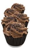 可爱的新鲜的巧克力杯形蛋糕-非常浅景深 免版税图库摄影