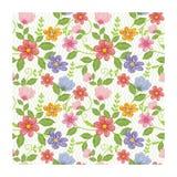 可爱的无缝的花-花卉样式设计 皇族释放例证