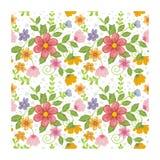 可爱的无缝的花-花卉样式设计 库存例证