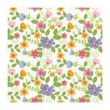 可爱的无缝的花-花卉样式设计 向量例证
