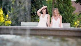 可爱的朋友聊天关于生活在一个夏日在公园,女孩在公园坐在喷泉附近 股票视频