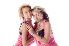 可爱的服装舞蹈演员变粉红色二 库存照片