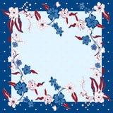可爱的桌布种族花 美丽的传染媒介装饰品 卡片,班丹纳花绸印刷品,方巾设计,餐巾 深蓝 库存图片