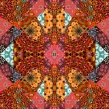 可爱的桌布,毯子,被子,地毯 在印地安样式的欢乐补缀品样式 库存例证