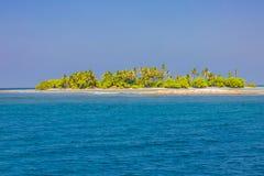 可爱的海滩用绿松石水和在一个热带海岛上的绿色棕榈树 库存照片