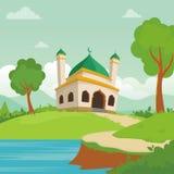 可爱的清真寺,有风景风景设计的 向量例证