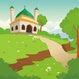 可爱的清真寺,有风景风景设计的 库存例证