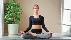 可爱的灵活的年轻女人实践的瑜伽在家使用智能手机全景 股票录像