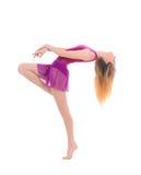 年轻可爱的灵活的女性舞蹈家 库存图片