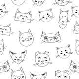 可爱的猫 无缝的模式 空白 库存照片