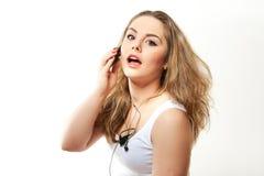 可爱的电话妇女 免版税库存照片