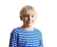 可爱的男孩公平的连衣裙头发的年轻人 库存照片