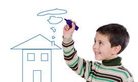 可爱的男孩图画房子 免版税图库摄影