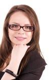 可爱的白种人微笑的妇女画象  免版税库存照片