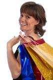 可爱的白种人特写镜头购物妇女 免版税图库摄影