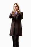 可爱的白肤金发的女实业家白种人年&# 免版税库存图片