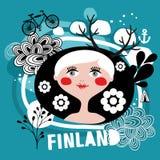 可爱的白肤金发的妇女画象从芬兰的 库存照片
