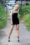 可爱的白肤金发的时尚女孩 库存照片