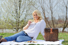 可爱的白肤金发的野餐妇女 库存图片