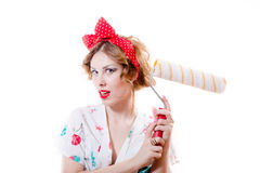 可爱的白肤金发的画报女孩的图片有拿着承梁的嫉妒&红色嘴唇的惊奇&被激发 库存图片