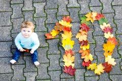 可爱的矮小的女婴在秋天公园在与橡木和枫叶的晴朗的温暖的10月天 库存照片