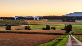可爱的秋天日出在巴伐利亚,欧洲 库存照片