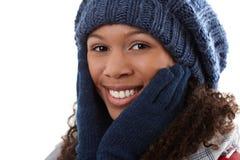 可爱的种族妇女冬天画象  免版税库存图片