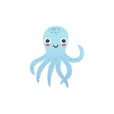 可爱的章鱼字符 库存例证
