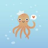 可爱的章鱼字符 免版税库存照片