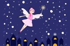 可爱的童话在夜背景中 向量例证