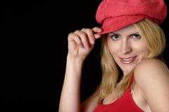 可爱的红色妇女 库存照片